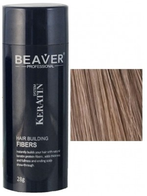 Beaver keratin hair building fibers - Light brown (28 gr) -