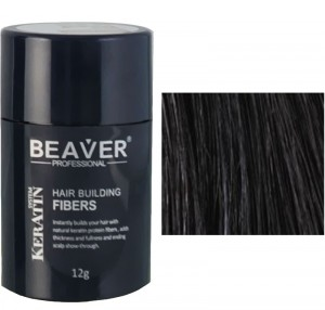 Beaver keratin hair building fibers - Black (12 gr) -